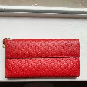 RARE Red Gucci Charm Continental Wallet